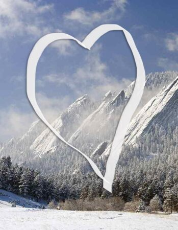 view of Boulder's Flatirons with a heart drawn over it